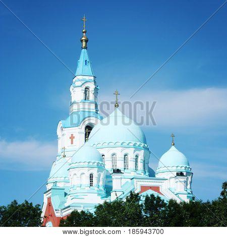 Spaso-Preobrazhensky Cathedral of Valaam Monastery. Sunny summer day. Aged photo. Island of Valaam Republic of Karelya Russia.
