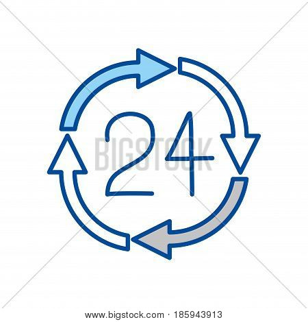 blue contour of 24 hours arrow circle icon vector illustration