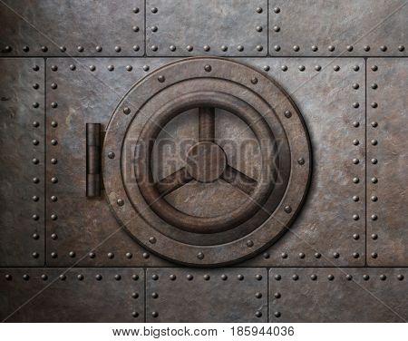 Rusty metal safe door 3d illustration