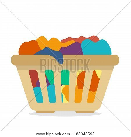 basket with dirty clothes. Flat style vector illustration.