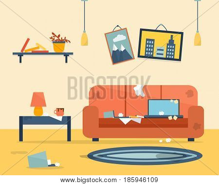 Dirty room. Disorder in the interior. Apartment before and after cleaning. Flat style vector illustration.