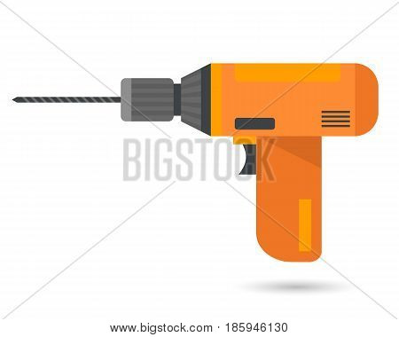 Drill on white background. Flat style vector illustration.