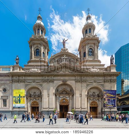 Catedral Metropolitana De Santiago On Plaza De Armas, Chile