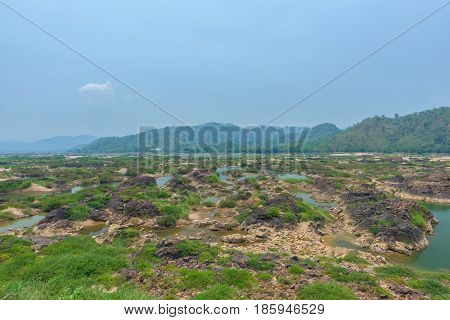 Landscape of Mekong river at Thailand with blue sky
