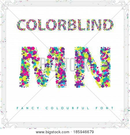 Set of Colorblind Style Font in Vector. Fresh trendy colors.