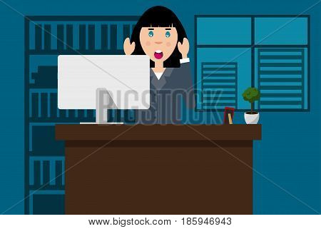Frightened woman at the office.  Vector. Flat design. Concept of an office worker who faced the problem.
