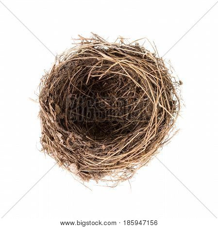 Bird nest isolated on white top view. Empty nest of common blackbird