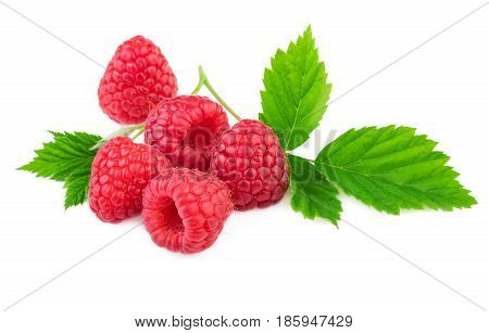Isolated raspberries. Organic raspberry with fresh leaf isolated on white background