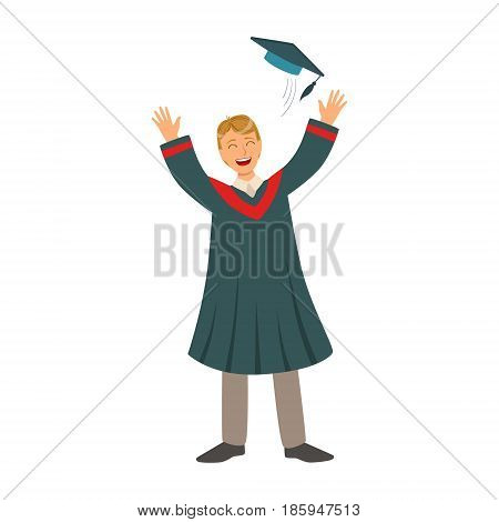 Young man tossing up his cap on Graduation Day. Celebrating graduation ceremony concept. Colorful cartoon illustration isolated on a white background