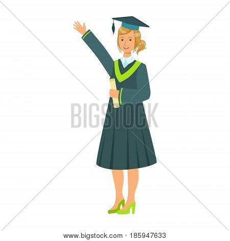 Graduate girl student in mantle holding diploma scroll and raising her hand up. Celebrating graduation ceremony concept. Colorful cartoon illustration isolated on a white background