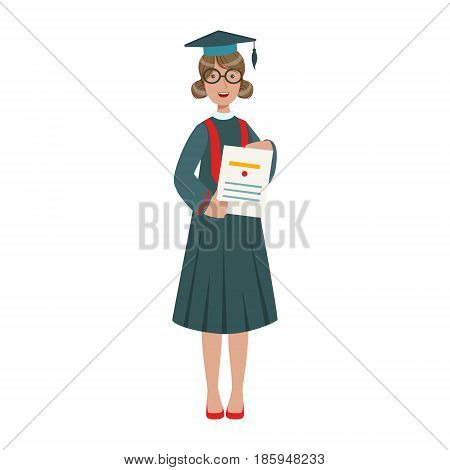 Graduated student girl in cap gown showing diploma. Celebrating graduation ceremony concept. Colorful cartoon illustration isolated on a white background