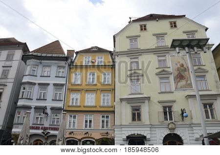 GRAZ, AUSTRIA - MARCH 19, 2017: Colorful buildings at the Main Square of Graz the capital of federal state of Styria Austria.