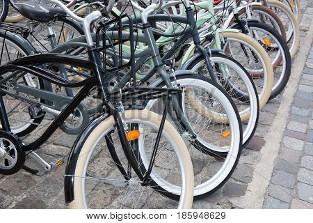Several Bicycles Are Ready For Rent In The City