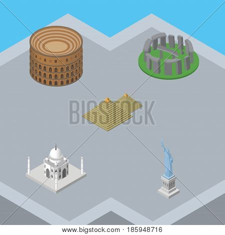 Isometric Travel Set Of Egypt, India Mosque, New York And Other Vector Objects. Also Includes Taj, Coliseum, Egypt Elements.