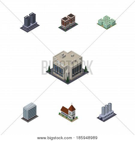 Isometric Construction Set Of Water Storage, House, Company And Other Vector Objects. Also Includes Clinic, Tower, Storage Elements.