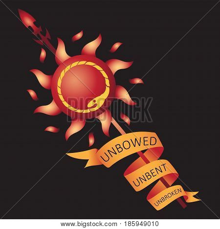 Sun, spear and ribbon. Decals, emblems. The background is black. Vector image. Print design on fabric, paper.