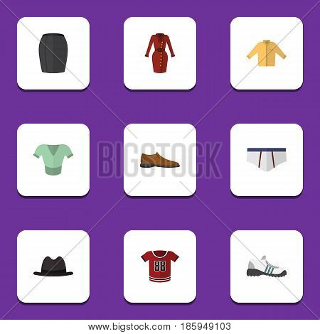 Flat Clothes Set Of Underclothes, Clothes, T-Shirt And Other Vector Objects. Also Includes Apparel, Shoe, Man Elements.