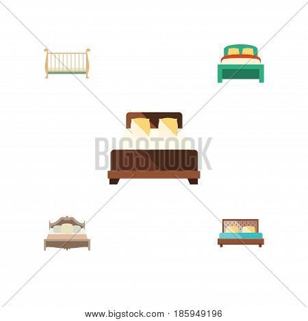 Flat Mattress Set Of Furniture, Bedroom, Mattress And Other Vector Objects. Also Includes Hostel, Furniture, Mattress Elements.