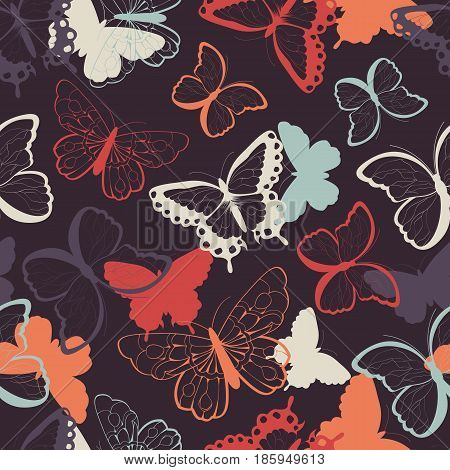 Seamless vector pattern with hand drawn colorful butterflies silhouette vibrant vector illustration
