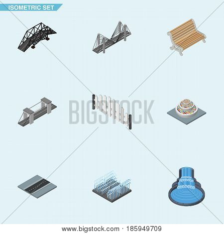 Isometric Architecture Set Of Garden Decor, Barricade, Expressway And Other Vector Objects. Also Includes Water, Fountain, Highway Elements.