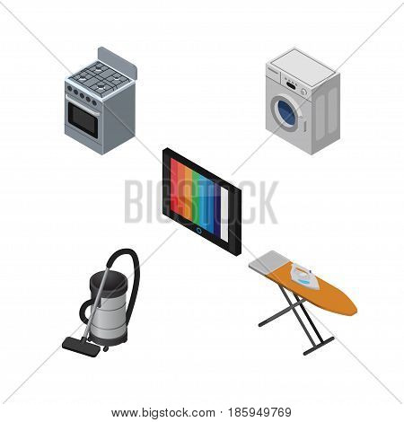 Isometric Appliance Set Of Stove, Television, Vac And Other Vector Objects. Also Includes Tv, Cleaner, Kitchen Elements.