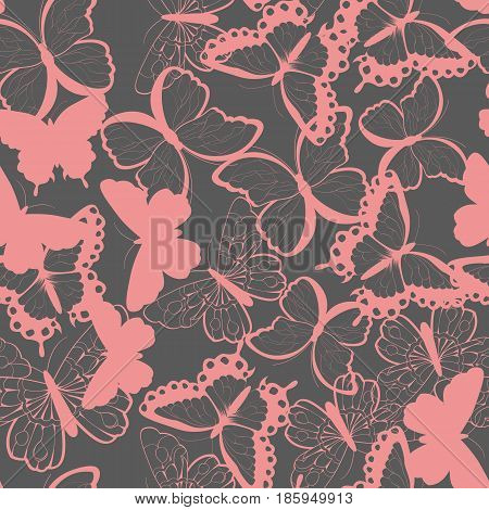 Seamless vector pattern with hand drawn silhouette butterflies pink and gray vector illustration