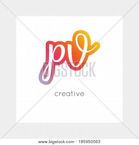 PV logo, vector. Useful as branding, app icon, alphabet combination, clip-art.