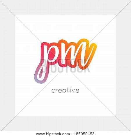 PM logo, vector. Useful as branding, app icon, alphabet combination, clip-art.