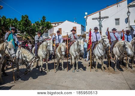 Sent-Mari-de-la-Mer, Provence, France - May 25, 2015. Square in the center of the city. World Festival of Gypsies. Convoy - guards on white horses lined up before the start of parade