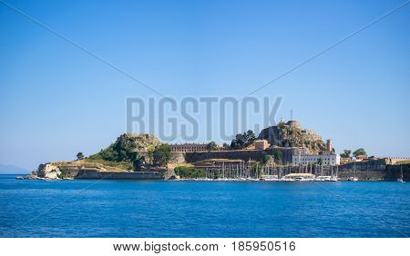 Hellenic temple and old castle at Corfu island Greece