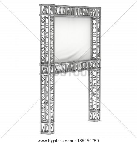 Steel truss girder element banner construction. 3d render press wall isolated on white