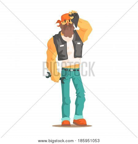 Strong bearded biker in motorcycle bandana and leather vest colorful character vector Illustration isolated on a white background
