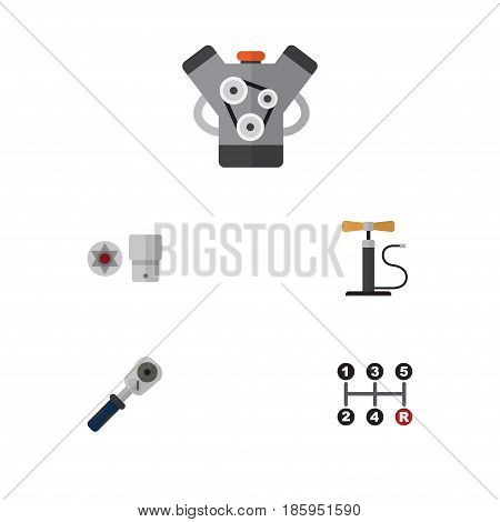 Flat Service Set Of Wheel Pump, Carrying, Turnscrew And Other Vector Objects. Also Includes Pump, Ratchet, Joint Elements.