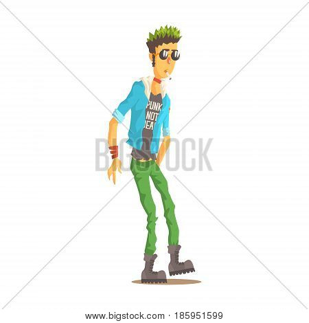 Punk man with green hair dressed in punks style clothing, colorful character vector Illustration isolated on a white background