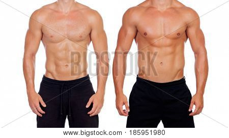 Two perfect male bodies isolated on a white background