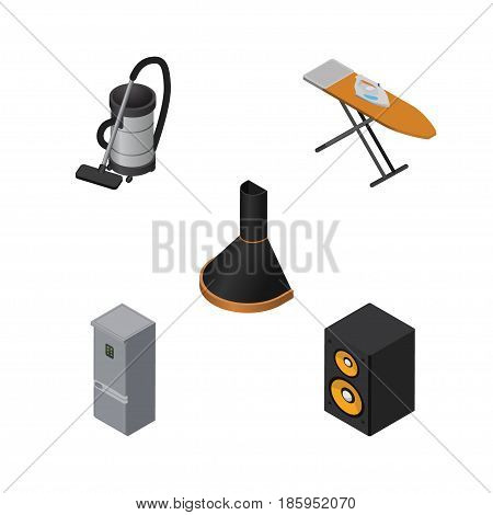 Isometric Technology Set Of Vac, Music Box, Air Extractor And Other Vector Objects. Also Includes Hood, Cleaner, Kitchen Elements.
