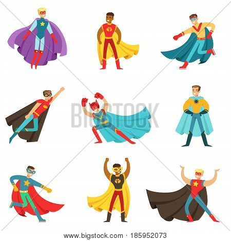 Male Superheroes In Classic Comics Costumes With Capes Set Of Smiling Flat Cartoon Characters With Super Powers. Collection Of Colorful Stickers With People Dressed In Costumes Of Powerful Heroes With Unusual Abilities.