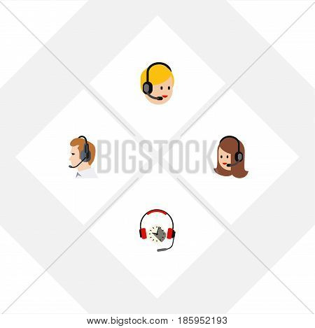 Flat Call Set Of Call Center, Telemarketing, Service And Other Vector Objects. Also Includes Telemarketing, Headphone, Support Elements.