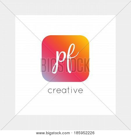 PF logo, vector. Useful as branding, app icon, alphabet combination, clip-art.