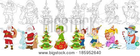 Cartoon new year set. Santa claus with presents and his helper elf boy and girl with christmas gift boxes child decorating fir tree snowman candy stick and bauble. Coloring book pages for kids.