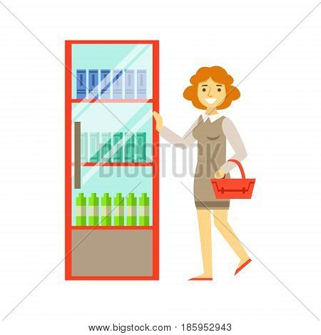 Woman shopping at supermarket and buying products. Shopping in grocery store, supermarket or retail shop. Colorful character vector Illustration isolated on a white background