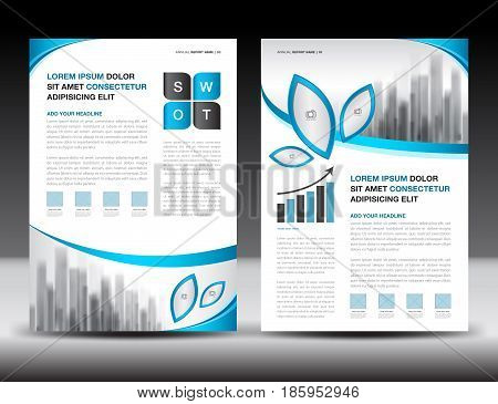 Business brochure flyer templater blue cover design annual report newsletter ads polygon background