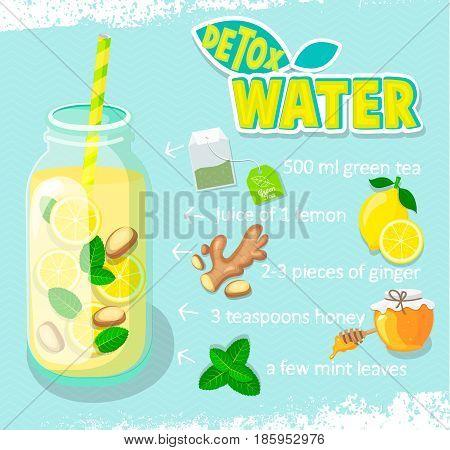 Recipe for detox cocktail with green tea, lemon, ginger, honey, mint. Vector illustration for diet menu, cafe and restaurant menu. Fresh smoothies, detox, fruit cocktail for healthy life.