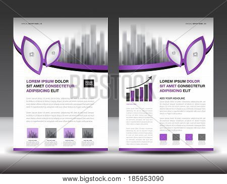 Business brochure flyer templater Purple cover design annual report newsletter ads leaf vector