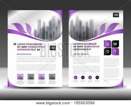 Business brochure flyer templater Purple cover design annual report newsletter ads polygon background