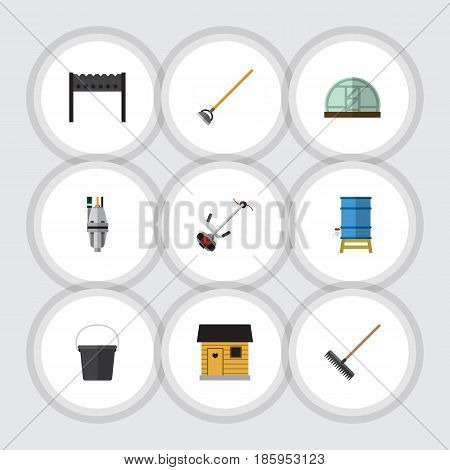 Flat Dacha Set Of Stabling, Container, Barbecue And Other Vector Objects. Also Includes Barbecue, Gardening, Hothouse Elements.