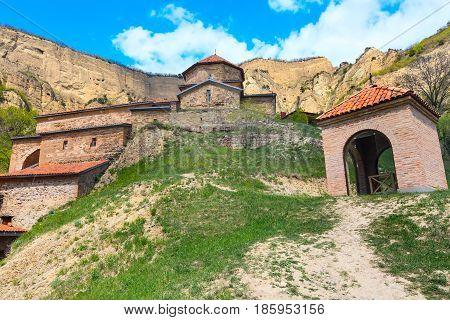 Panoramic view of ancient Shio-Mgvime monastery near Mtskheta, Georgia