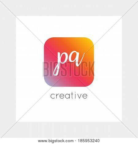 PA logo, vector. Useful as branding, app icon, alphabet combination, clip-art.