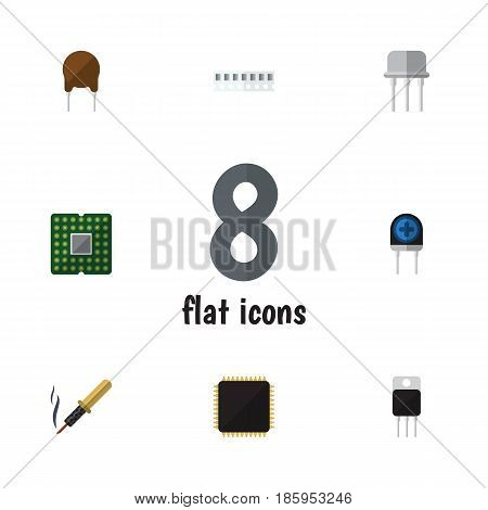 Flat Appliance Set Of Memory, Receiver, Cpu And Other Vector Objects. Also Includes Recipient, Receiver, Set Elements.
