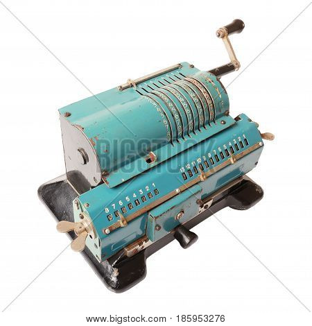 Old blue calculating machine isolated on a white background. Left view.
